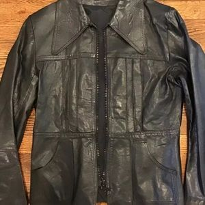VTG Leather Jacket London Made 70's Pointy Collar